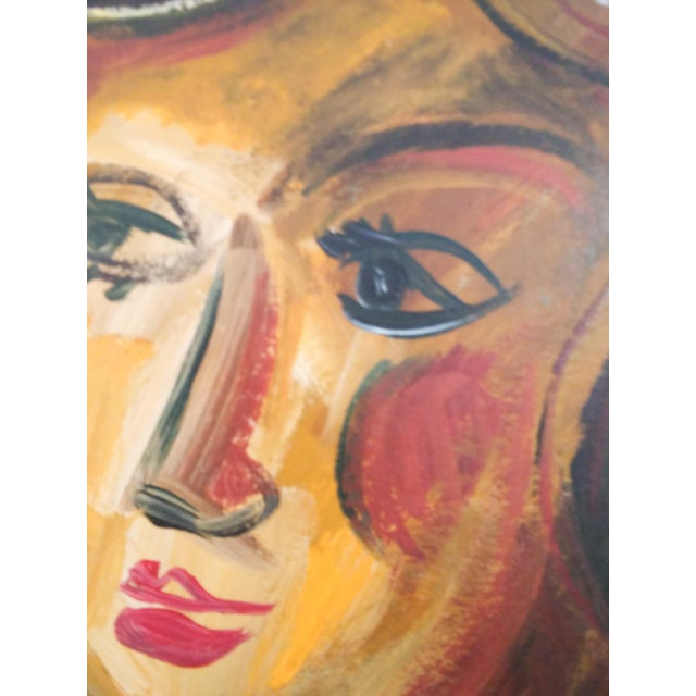 Mid 20th Century Abstract Faces Oil Painting, Framed For Sale - Image 4 of 7