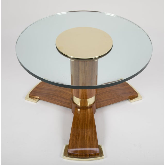 Brown Jules Leleu Mahogany, Bronze and Glass Coffee Table For Sale - Image 8 of 13