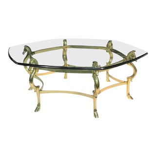 Italian Modernist Brass Seahorse Coffee Table For Sale