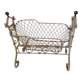 Victorian Handmade French Wire Rocking Doll Cradle