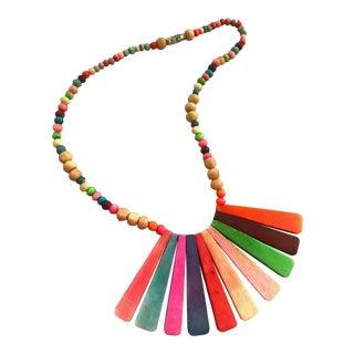 1970s Vintage Multi Color Rainbow Panel Necklace For Sale