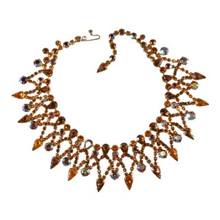 Kramer Amber Iridescent Rhinestones Collar Necklace For Sale