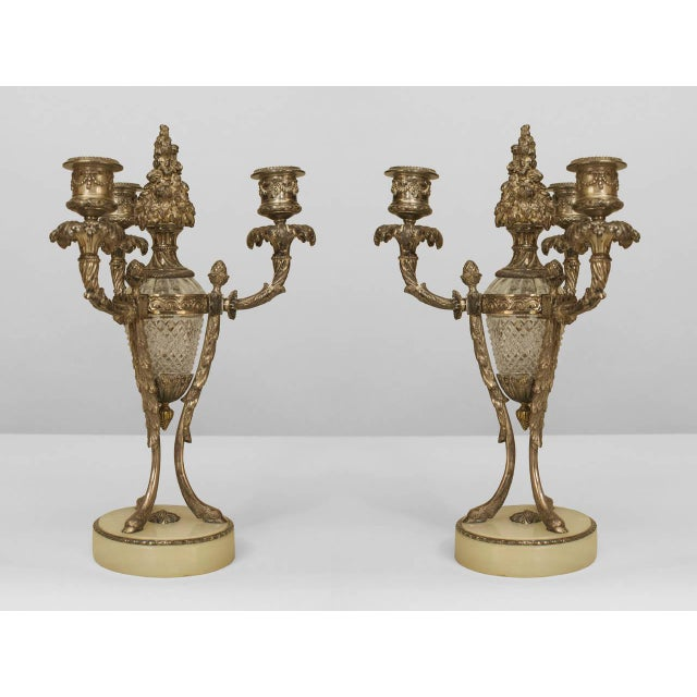 Traditional Pair of Ornate 19th C. French Silvered Bronze and Cut Glass Candelabras For Sale - Image 3 of 3