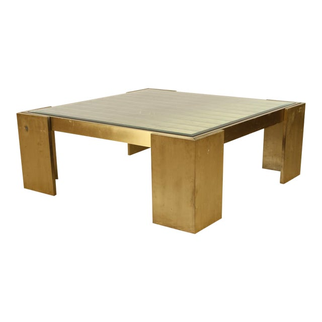 Square Bronze and Glass Coffee Table For Sale