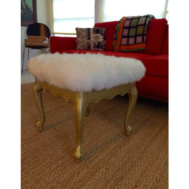 Faux Fur French Provincial Ottoman - Image 3 of 5