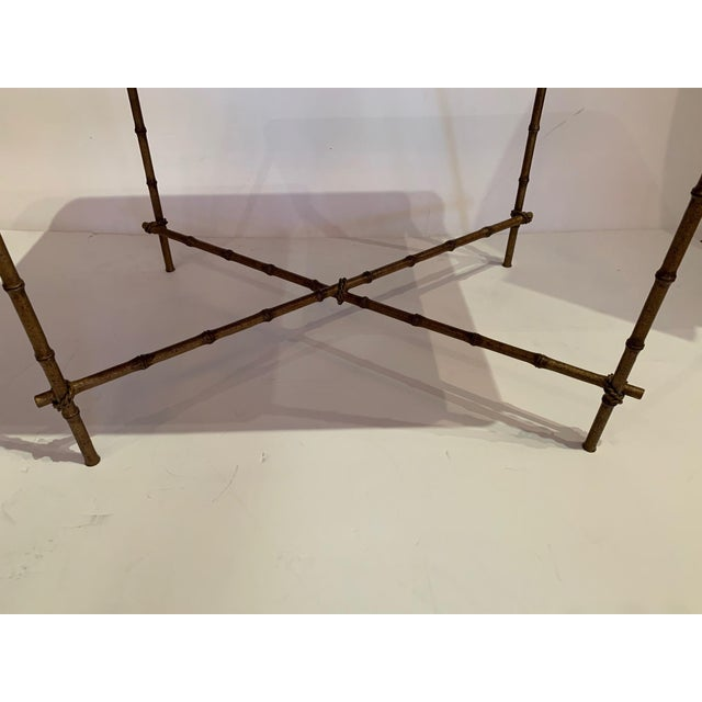 Traditional Tray Top Side Table With Gilt Bamboo Base For Sale - Image 3 of 13