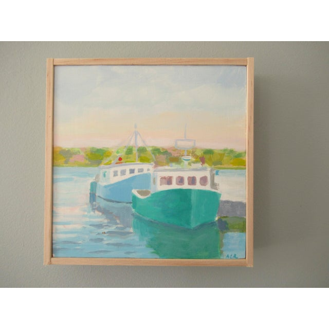 A beautiful harbor in the early morning light. I live in a coastal town and enjoy painting the local, nautical areas. The...