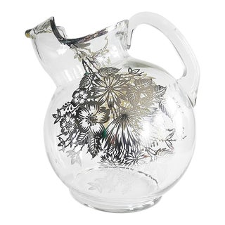 1950s Silver Overlay Glass Tilt Ball Pitcher Floral For Sale