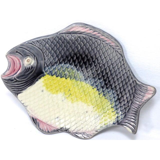 Majolica Antique 1880s Majolica Fish Relish Tray For Sale - Image 4 of 11