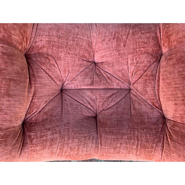 1950s 1950s Upholstered Salmon Tufted Ottoman - a Pair For Sale - Image 5 of 8