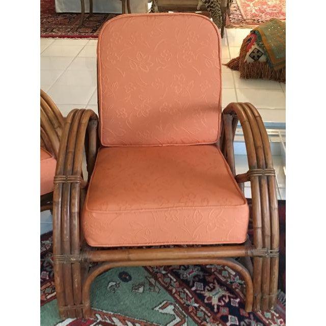 Orange Vintage Mid Century Rattan Set Chairs & Loveseat For Sale - Image 8 of 13