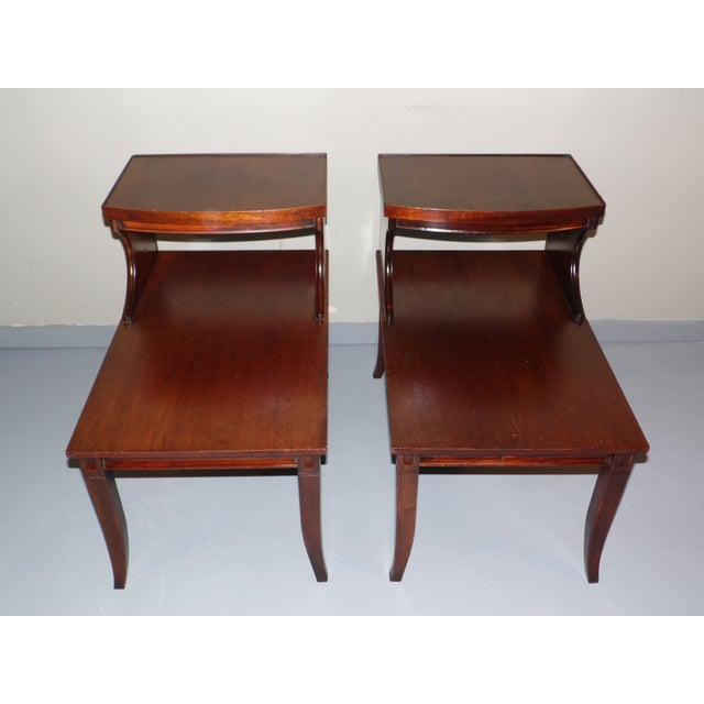 Mahogany Vintage Federal Style Step Sabre End Tables - A Pair For Sale - Image 7 of 10