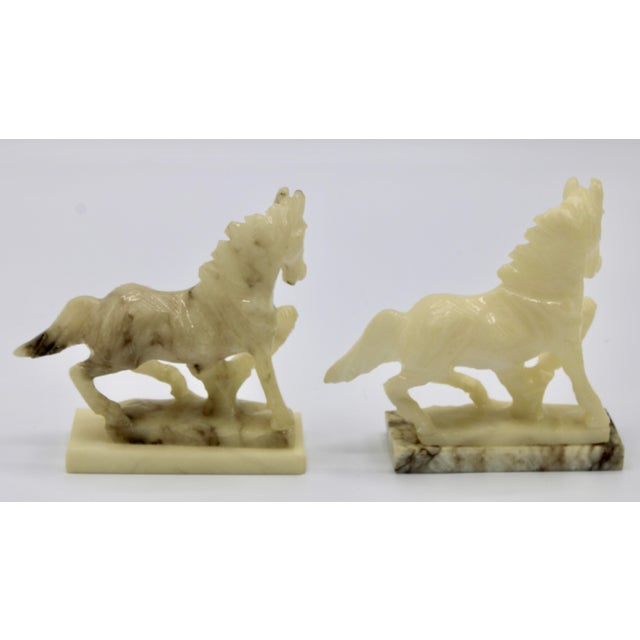 Italian Mid-20th Century Italian Alabaster Mantle Horse Bookends - a Pair For Sale - Image 3 of 13