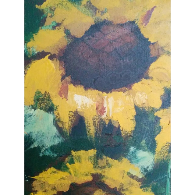 Mid-Century R. Styles Modernist Sunflowers Painting For Sale - Image 4 of 6