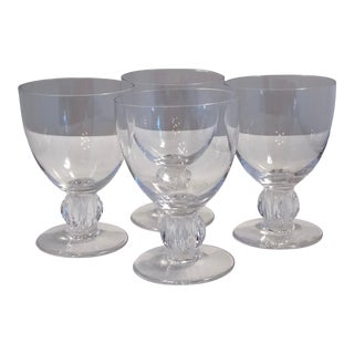 Langeais French Lalique Signed Clear Crystal Gardooned Wine Glasses - Set of 4 For Sale