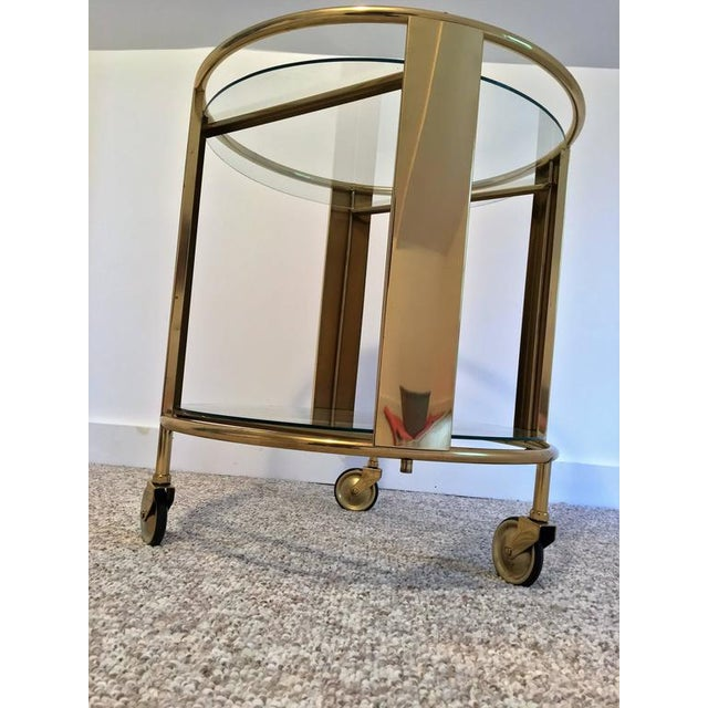 Italian Modernist Design Round Polished Brass Bar Cart - Image 7 of 9