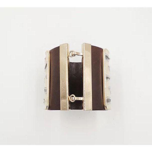 Leather Valentino Leather & Enamel Zebra Stripe Rhinestone Cuff Bracelet For Sale - Image 7 of 12