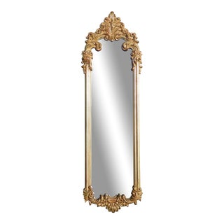 Vintage French Provincial Gold & Silver Ornate Wall Mantle Mirror by Turner For Sale