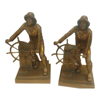 Antique Jennings Bros Craske Old Salt Gloucester Fisherman at Wheel Bookends - a Pair For Sale
