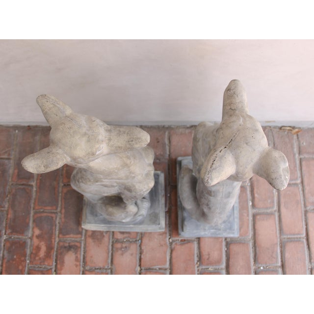 Concrete Vintage Concrete Weathered Patinated Greyhound Dog Sculptures - a Pair For Sale - Image 7 of 8