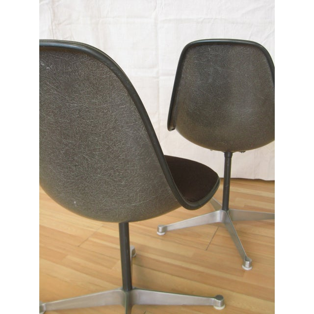 Metal Pair Eames Black Fiberglass Shell Chairs, Aluminum Group For Sale - Image 7 of 8