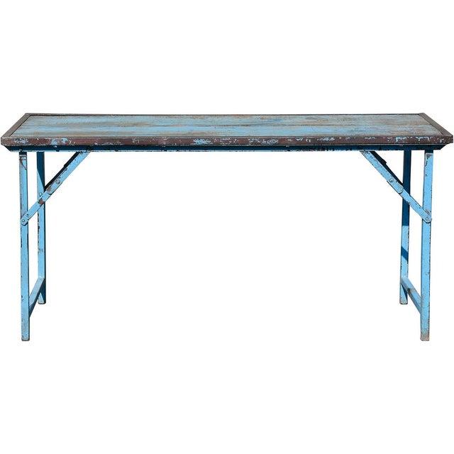 Vintage Blue Wood & Steel Folding Table - Image 2 of 4