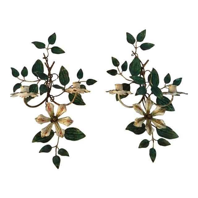 Vintage Italian Flower Candle Sconces - A Pair - Image 1 of 6