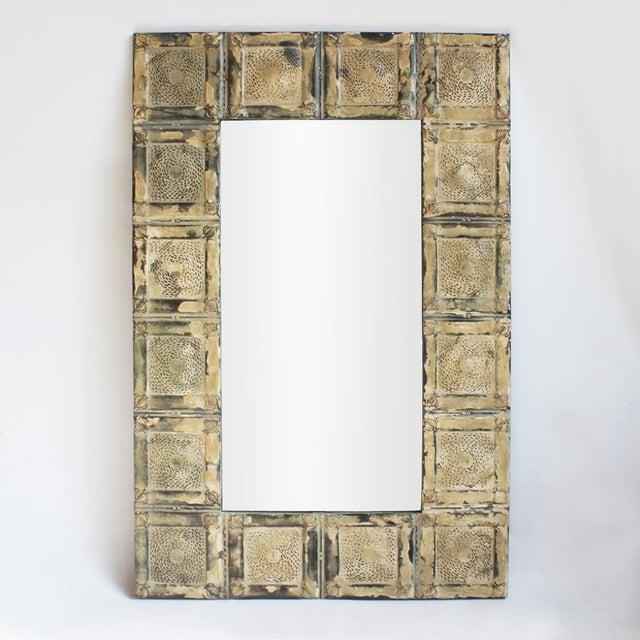 Vintage Tin Ceiling Tile Mirror | Chairish