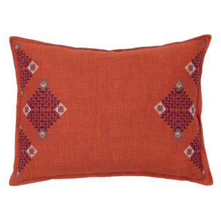 Diamond Edge Citrus Vermilion Pillow For Sale