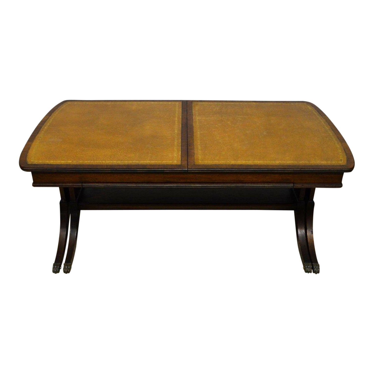 Coffee Table Extendable Top.Baker Leather Top Mahogany Extendable Coffee Table