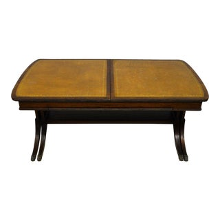 Baker Leather Top Mahogany Extendable Coffee Table