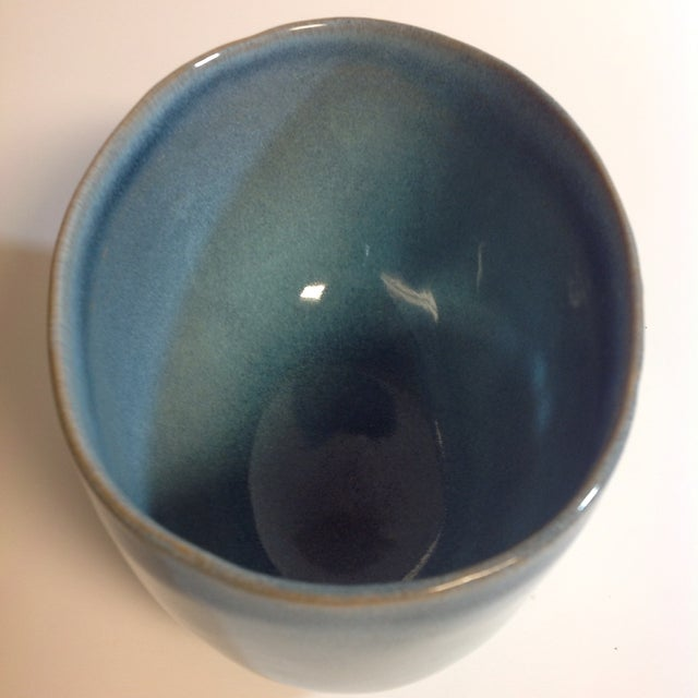 Art Nouveau Rare Vintage Shape #37 Blue Glidden Pottery Bowl For Sale - Image 3 of 6