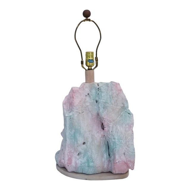 1970s Sculptural Sirmos Style Plaster Rock Shape Table Lamp For Sale