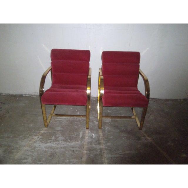 M. Baughman Cherry Velvet & Brass Chairs- A Pair - Image 8 of 8