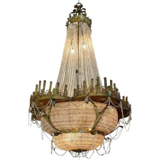 1915 Bronze and Crystal Theatre Ballroom Chandelier