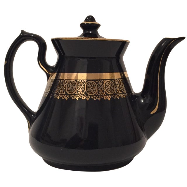 "Black and Gold Hollywood Regency ""Hall Usa"" Teapot - Image 1 of 9"