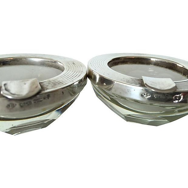 Sterling & Crystal Ashtrays - Pair - Image 4 of 4