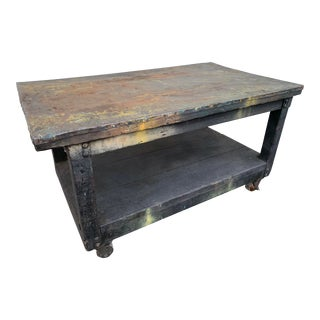Distressed Industrial Metal Top Work Table on Casters For Sale