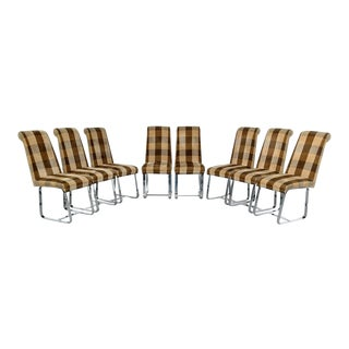 Milo Baughman Styled, 1970s Chrome Based Upholstered Side Chairs, Set of 8 For Sale