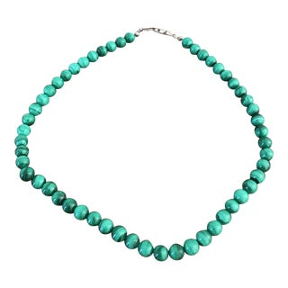 Polished Malachite Bead Necklace For Sale