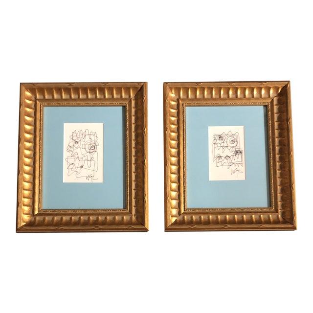 Gallery Wall Collection-2 Original Vintage Wayne Cunningham Ink Line Drawings Framed-Set of 2 For Sale