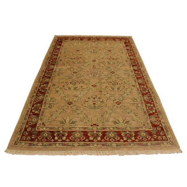 Mid-Century Modern Kafkaz Peshawar Fatima Tan/Rust Hand-Knotted Rug - 4'1 X 5'9 For Sale - Image 3 of 8