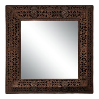 Balinese Carved Wood Mirror For Sale