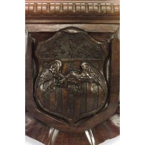 Glass 19th c. Wall Mirror Carved with American Iconography For Sale - Image 7 of 8
