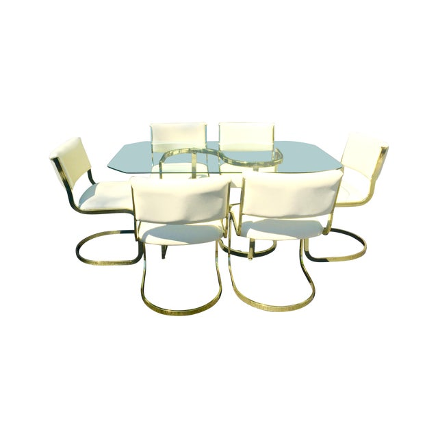 Brass & Glass Dining Set - Image 1 of 10