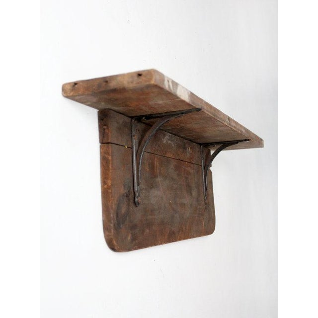 Antique Rustic Wood & Iron Shelf - Image 3 of 6