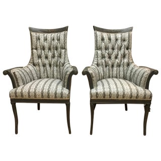 Antique French Faux Snake-Skin Chairs - A Pair For Sale