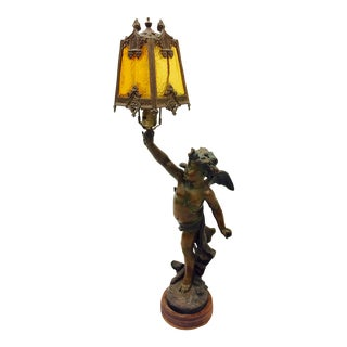 Antique Bronze Cast Cupid Sculpture Lamp