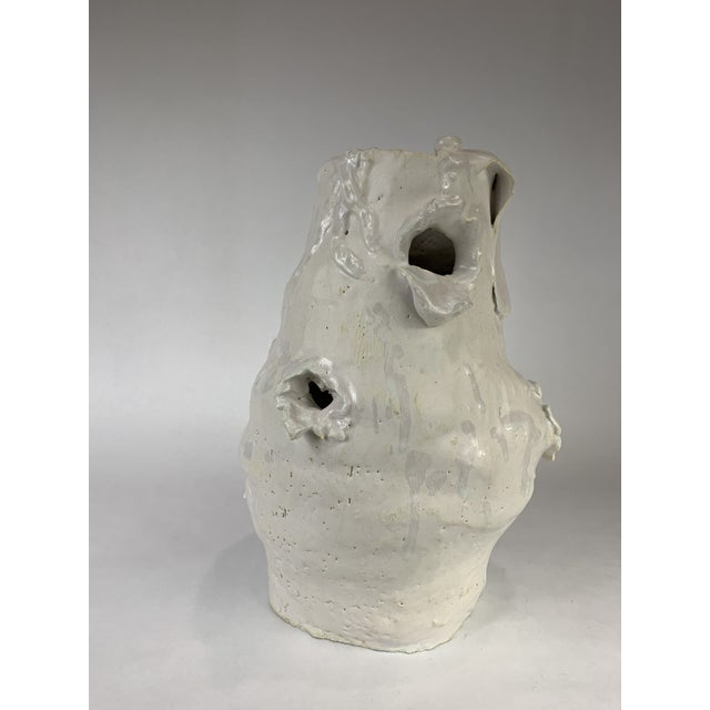 Transitional Late 20th Century Hand Thrown Porcelain Studio Pottery Vase For Sale - Image 3 of 6