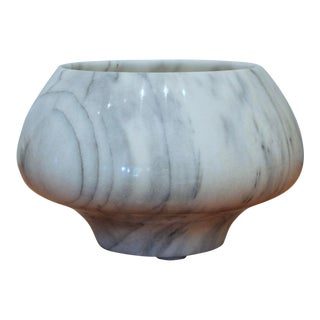 Sculptural Carved White Marble Bowl For Sale